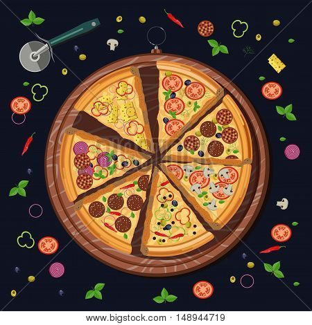 Set of pizza slices on the board and the food ingredients: cheese and tomato, mozzarella and pepperoni, pepper and basil, salami. Italian restaurant menu. Vector illustration isolated on black background
