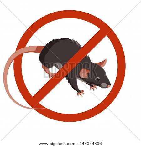 Rat or Mouse Warning Vector Signs. Isolated Rat Editable Under the Red Circle Vector Set.