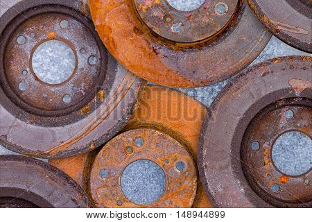 Layer Of Overlapping Old Rusty Brake Rotors