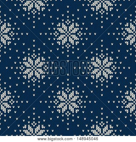 Winter Holiday Knitted Sweater Design with Snowflakes. Seamless Fair Isle Knitting Pattern