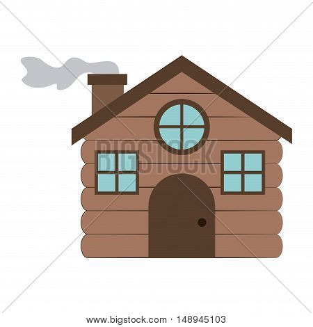 Wood house icon. Merry Christmas season and decoration theme. Isolated design. Vector illustration