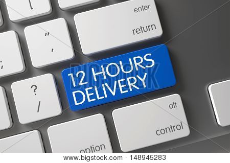 12 Hours Delivery Concept: Modern Keyboard with 12 Hours Delivery, Selected Focus on Blue Enter Button. 3D Illustration.