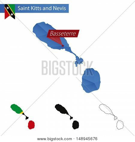 Saint Kitts And Nevis Blue Low Poly Map With Capital Basseterre.
