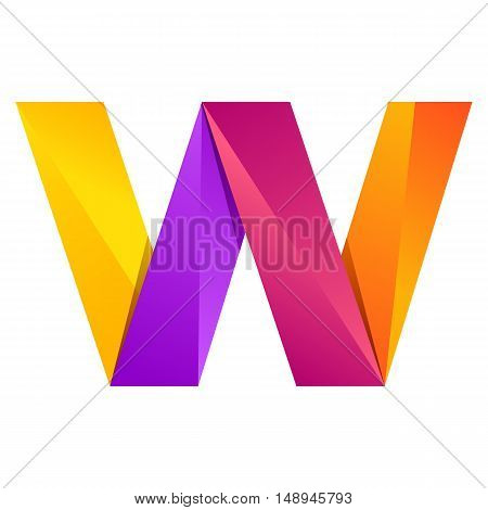 W letter one line colorful logo. Vector design template elements an icon for your application or company