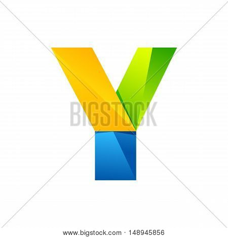 Y letter one line colorful logo. Vector design template elements an icon for your application or company