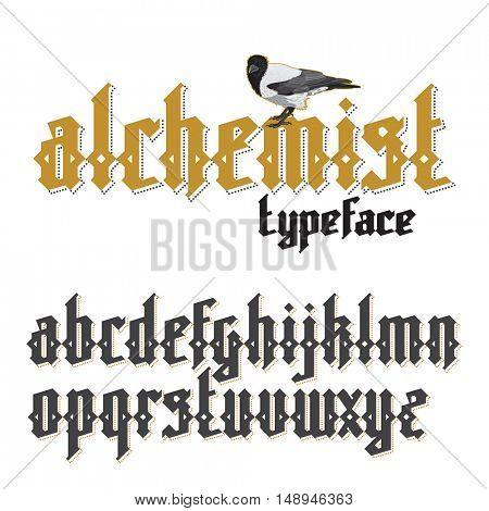 Modern custom gothic alphabet font