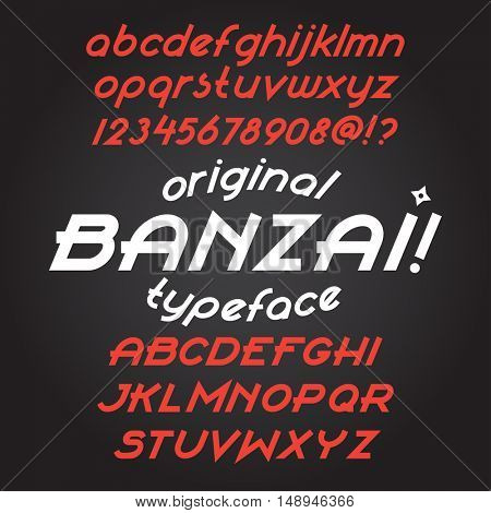 Custom italic letters. Flat calligraphic feather style. Vector sans-serif alphabet