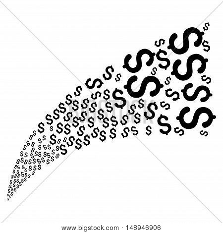 Dollar Fountain Stream vector illustration. Style is black flat dollar symbols white background.