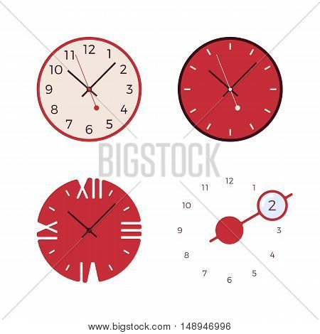 Set of four modern wall clocks isolated against white background. Cartoon vector flat-style illustration