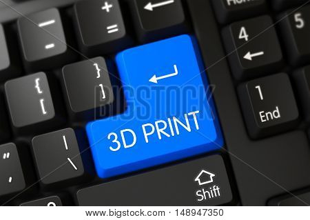 Key 3D Print on Modern Laptop Keyboard. 3D Illustration.