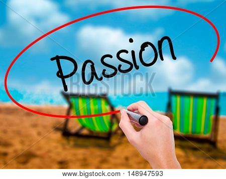 Man Hand Writing Passion With Black Marker On Visual Screen