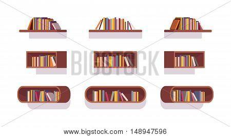 Set of retro bookshelves isolated against white background. Cartoon vector flat-style illustration