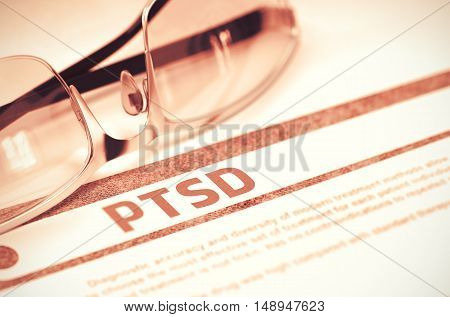 Diagnosis - PTSD - Posttraumatic Stress Disorder. Medicine Concept with Blurred Text and Eyeglasses on Red Background. Selective Focus. 3D Rendering.