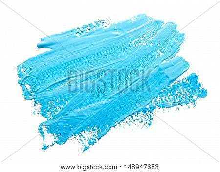 Turquoise light blue strokes of the paint brush isolated on a white