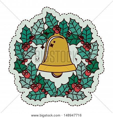 Bell and crown icon. Merry Christmas season and decoration theme. Isolated design. Vector illustration