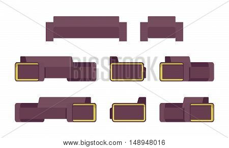 Set of modern sofa and armchair isolated against white background. Cartoon vector flat-style illustration