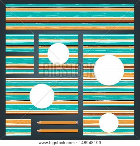 Corporate identity templates. Set of vector backgrounds. Set of corporate identity templates with striped grunge texture. Vector illustration.