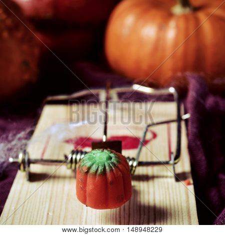 closeup of a pumpkin-shaped candy on a mousetrap, on a surface ornamented for Halloween with different pumpkins and cobwebs