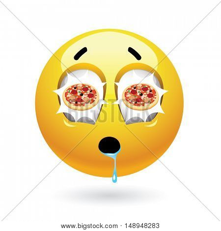 Hungry smiley with pizza reflecting in itâ??s eyes. Tasty food. Humoristic illustration of food loving smiley.