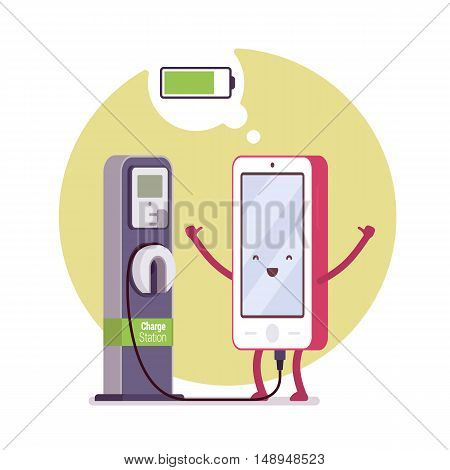 Charging smartphone near the station, battery status in a cloude. Cartoon vector flat-style concept illustration