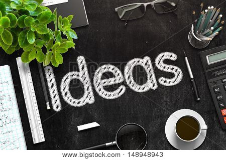 Ideas - Text on Black Chalkboard.3d Rendering. Toned Image.