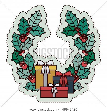 Gift and crown icon. Merry Christmas season and decoration theme. Isolated design. Vector illustration