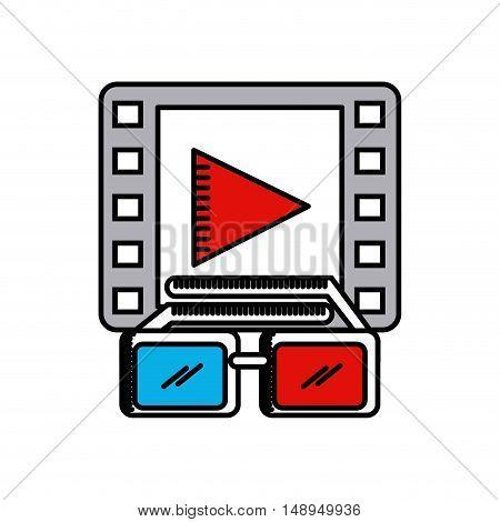 cinema 3d technology icon vector illustration design