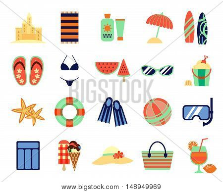 Beach summer vacation flat icons. Vector summertime signs. Summer accessory for vacation, illustration of icon for summer time