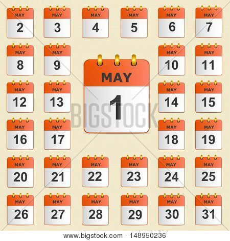 Full universal icon set wall-calendar in red. The month of May. The template is perfect for all your events, holidays, as a reminder etc. Vector illustration. Square location.