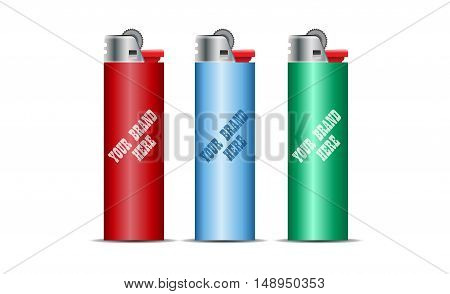 Digital vector cigarette lighter mockup, red, blue and green, realistic flat style, isolated and ready for your design and logo