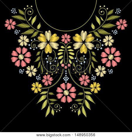 Neck line embroidery. Vector neck embroidery design. Ornament with flower pattern for neckline illustration