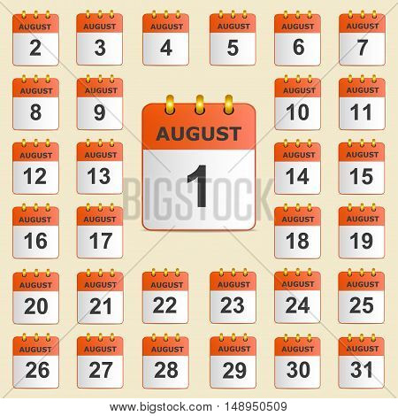 Full universal icon set wall-calendar in red. The month of August. The template is perfect for all your events, holidays, as a reminder etc. Vector illustration. Square location.