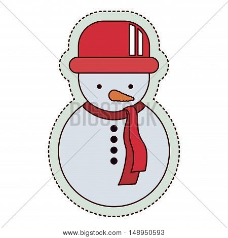 Snowman icon. Merry Christmas season and decoration theme. Isolated design. Vector illustration