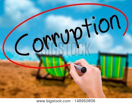 Man Hand Writing Corruption With Black Marker On Visual Screen