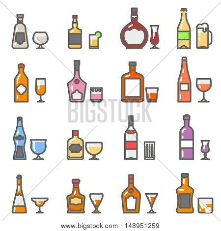 Alcohol bottles and alcohol glasses and stemware line flat icons. Vector illustration