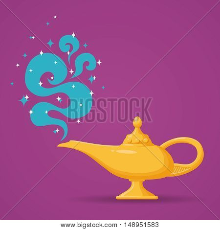 Magic lamp or Aladdin lamp vector illustration. Spiritual lamp for wish
