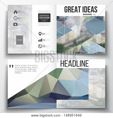 Set of annual report business templates for brochure, magazine, flyer or booklet. Polygonal background, blurred image, urban landscape, modern stylish triangular vector texture.