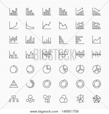 Linear market analysis diagrams and statistics chart icons. Vector analysis statistic for business, illustration diagram analysis information