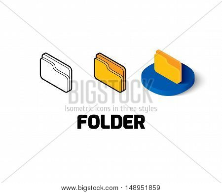 Folder icon, vector symbol in flat, outline and isometric style