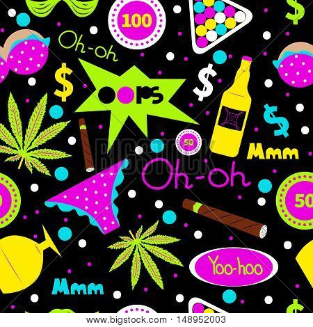 Pop art fashion seamless pattern. Vector cannabis, cigar, alcohol bottle, underwear, chips. Men's leisure, holiday, hobby, vacation, summer party in hawaii. Design for textiles t-shirts