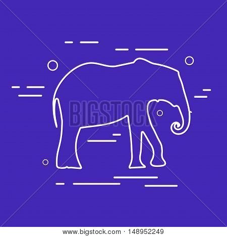Vector Elephant Line Icon. White outline shape of Elephant over blue background. Minimal style.