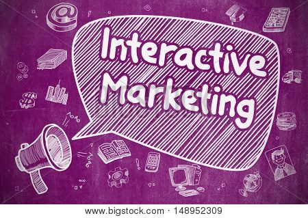 Interactive Marketing on Speech Bubble. Cartoon Illustration of Yelling Mouthpiece. Advertising Concept.