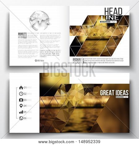 Set of annual report business templates for brochure, magazine, flyer or booklet. Colorful polygonal background, blurred image, night city landscape, triangular vector texture.