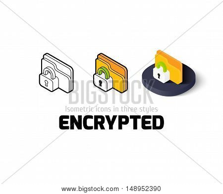 Encrypted icon, vector symbol in flat, outline and isometric style