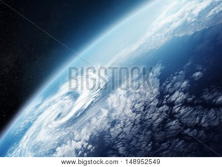 Planet Earth from space close up with Cloud formations. Illustration