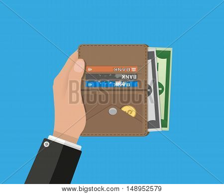 human hands and opened brown leather men wallet with credit cards and dollar cash. vector illustration in flat design on blue background