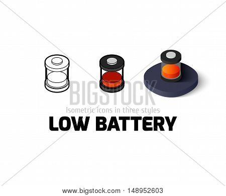 Low battery icon, vector symbol in flat, outline and isometric style