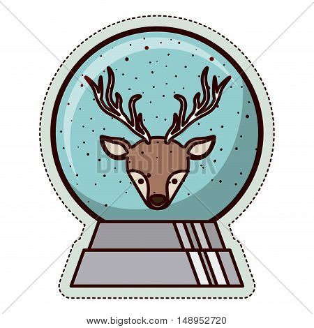 Reindeer and sphere icon. Merry Christmas season and decoration theme. Isolated design. Vector illustration
