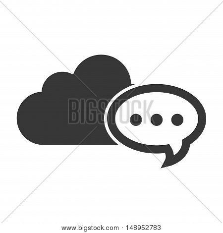data cloud storage with speech bubble icon silhouette. vector illustration