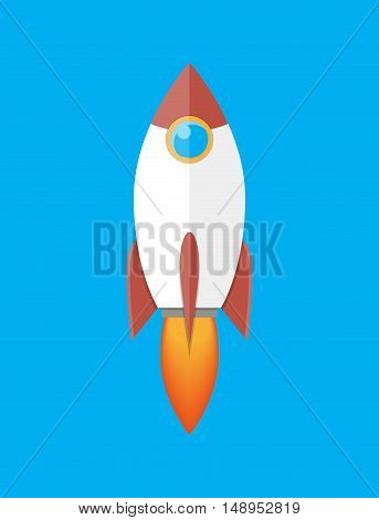 Space rocket isolated on blue. vector illustration in flat style